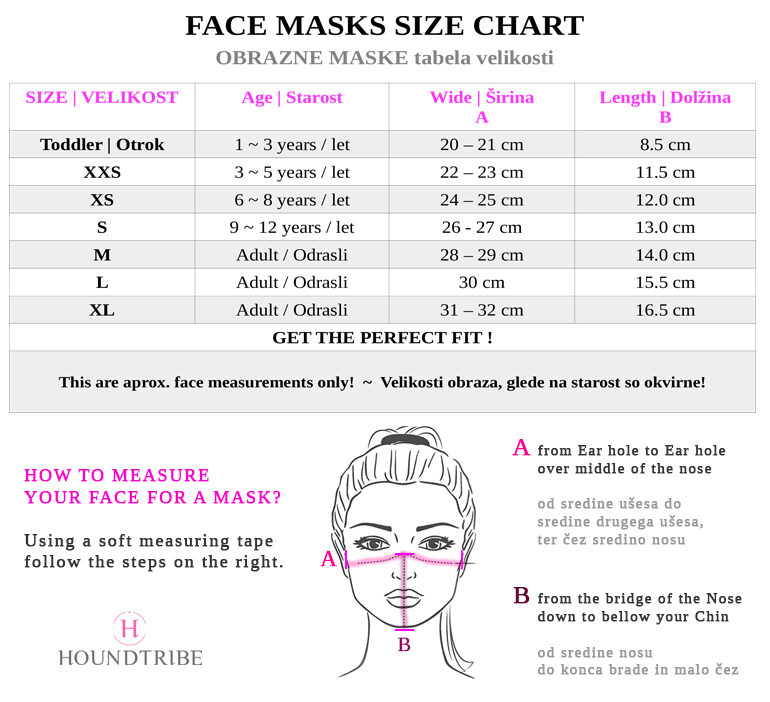 size chart & face measurements